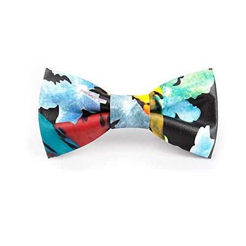 LILILICX Pajaritas Discoteca Masculina DJ Boda Novio Padrinos de Boda anfitrión Personalizado Moda Impresa Corbata de Lazo de Cuero Caja de Regalo, Pintura de Salpicaduras de Tinta