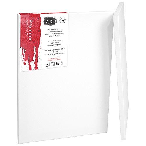 Artina Set de 2 lienzos Blancos Premium de 100% algodón con bastidores robustos 380 g/m² - 90x130 cm