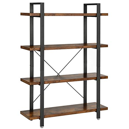 VASAGLE Industrial Bookshelf, 4-Layer Stable Bookcase, Storage Rack, Standing Shelf, Easy Assembly, Living Room, Bedroom, Office, Rustic Brown ULLS54BX, '41.3''l x 13.2''w x 54.3''h'