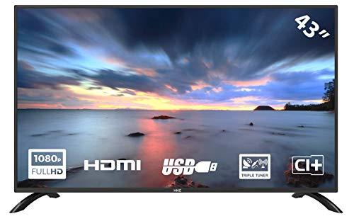 HKC 43F1 - TV LED da 109 cm (43 pollici), Full HD, Triple Tuner (DVB-T2 S2 C), CI+, HDMI, lettore multimediale tramite USB 2.0)
