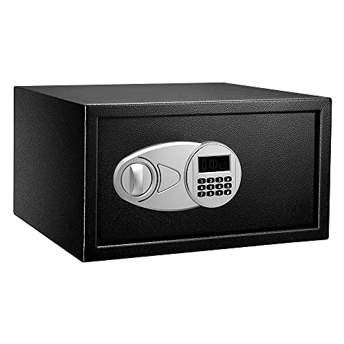 Amazon Basics Steel Security Safe with Programmable Electronic Keypad - Secure Cash, Jewelry, ID Documents - Black, 1 Cubic Feet, 16.93 x 14.57 x 9.06 Inches