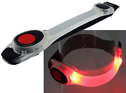 ChiliTec Led-joggingarmband met klittenbandsluiting, rood licht, hoge lichtbaarheid voor wandelen, klimmen, sport, 1 Stück, Rot
