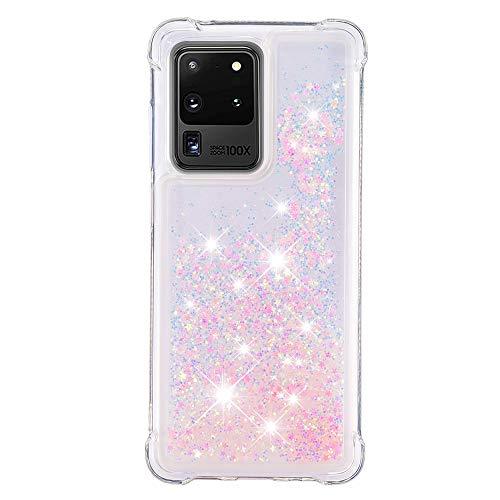 HopMore Glitter Funda para Samsung Galaxy S20 Ultra / S20 Ultra 5G Purpurina Silicona Cover 3D Liquido Brillante Dibujos Transparente Carcasa Resistente (Borde Antigolpes) Case - Estrella Rosa