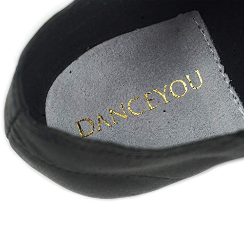 DANCEYOU DANCE YOU Leather Upper Neoprene Slip on Jazz Shoes , 7 UK, Black