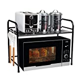 Mind Reader Microwave Oven Rack Shelf Unit for Kitchen Utensils, Towels, Mits, and More, Black