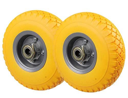 HRB PU Rad 260 mm - Pannensicher je 130 kg Traglast, Metallfelge (Gelb, 2 Stück)