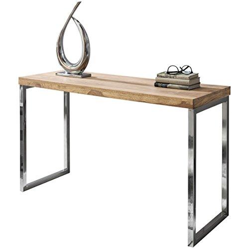 Wohnling consoletafel GUNA massief hout acacia console met metalen poten bureau 120 x 45 cm landelijke stijl dressoir modern massief donkerbruin echt hout natuur dressoir PC-tafel secretaire tafel hal