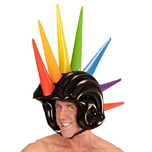 Iroquois casco para disfraz Punk Boxhelm hinchable 90 cm Punk cresta y de carnaval casco con tacos de goma para casco Rocker 80er accesorio de disfraces de carnaval de años de diseño de accesorios