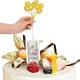 Popuppe Kuchen Spardose Set, Geburtstag Spardose mit 20 Stück Klarsichtbeutel und Glitter Cake Toppers für Geburtstagstorte Dekoration