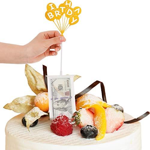 Popuppe Juego de huchas para tartas de cumpleaños con 20 bolsas transparentes y adornos con purpurina para decoración de tartas de cumpleaños