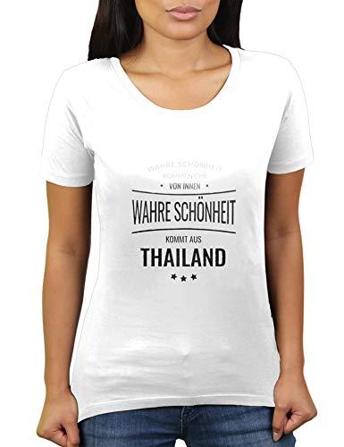 La verdadera belleza proviene de Tailandia, no desde el interior, Tailandia, Tailandia, camiseta de mujer de KaterLikoli. Blanco XXL