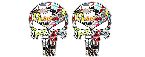 Racing Punisher Skull Stickerbomb Motocross Enduro Dirt Bike Mountain Bike Aufkleber Sticker Autocollants + Gratis Schlüsselringanhänger aus Kokosnuss-Schale + Auto Motorrad Laptop Helm Tuning JDM Dub