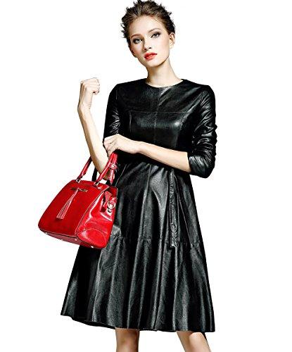 LAI MENG Damen Langarm Midi-Kleid in Leder-Optik A-Linie Partykleid Clubwear Leder Look, Schwarz, 44 (Asien 3XL)