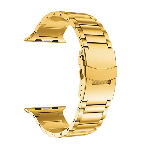 LDFAS Compatible for Apple Watch Band 44mm 42mm, Sport Stainless Steel Metal Strap with Safety Buckle for iWatch Bands Compatible for Apple Watch SE, Apple Watch Series 6/5/4/3 Smartwatch, Gold