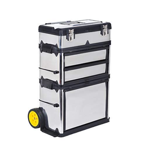 MEIJAIA - Caja de herramientas con ruedas y mango retráctil, 3 en 1, bandeja de almacenamiento extraíble – Caja de almacenamiento para baúl y armario, organizador de caja de herramientas de garaje