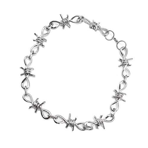 Guangcailun Juego de Cadena de la Pulsera del Collar de Las Mujeres de los Hombres Barb Wire Set Estilo gótico Punky de Alambre de aleación de zarzas Collar de la muñeca