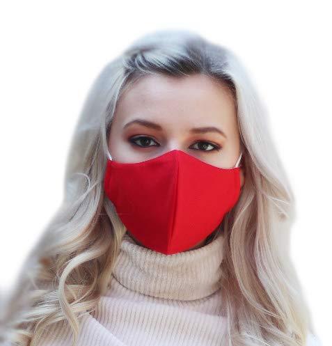 NIMBIM Behelfsmaske, Maske mit antibakterielle Silberfasern, waschbare Damen & Herrenmaske, atmungsaktiv, Maske in rot