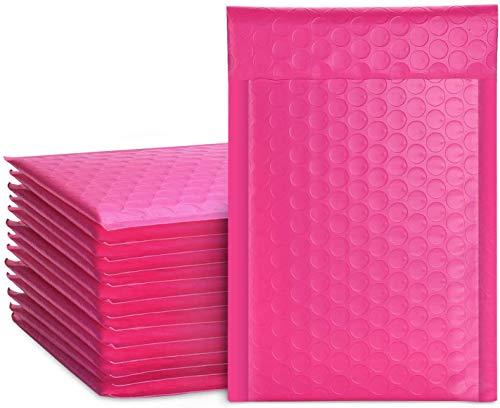 Switory 50 sobres acolchados de 10,2 x 17,7 cm, 10,2 x 17,7 cm, sobres acolchados a granel #000, bolsas de polietileno forradas con burbujas para envío, empaque, autosellado, color rosa