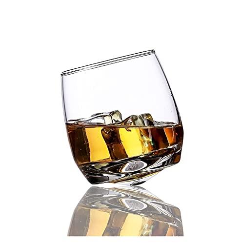 Tener personalidad Copas de vino inclinadas Vasos de vino soplados a mano copas de vino, rock and roll rock rocking whisky gafas creativo vaso gyrate vino glasse fiestas de vacaciones suministros deco