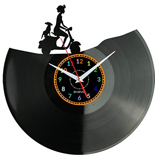 WoD Vespa Wanduhr Vinyl Schallplatte Retro-Uhr Handgefertigt Vintage-Geschenk Style Raum Home Dekorationen Tolles Geschenk Uhr Vespa