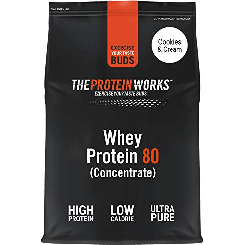 THE PROTEIN WORKS Whey Protein 80 (Concentrate) Powder | 82% Protein | Low Sugar, High Protein Shake | Cookies 'n' Cream | 2 Kg