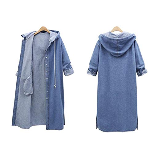 Blouse for Women Long Sleeve Kimloog Women Hooded Casual Long Sleeve Denim Jacket Long Jean Coat Outwear Overcoat [video game] [video game]