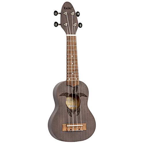 ORTEGA KEIKI Ukulele 4 String - Sopranino Tortiose/Turtle Lasering/Clavijero KEIKI/A D F# B/Carbón (K1-CO)