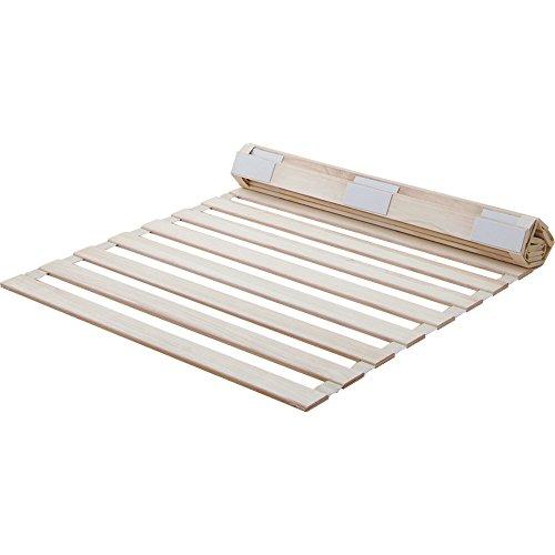 アイリスプラザ すのこマット ホワイト 桐 ロール式 シングル 天然木 折りたたみ ベッド通気性