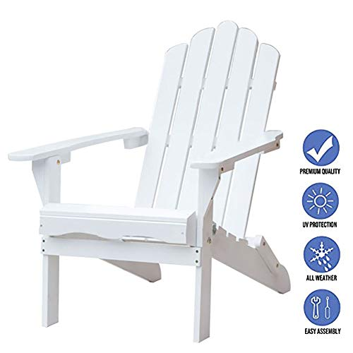 Adirondack Chair Extra Wide Wooden, White Heavy Duty Folding Sun Lounger for Outdoor Garden Pool Yard Lawn, Support 220lbs (Color : White)