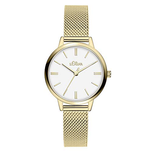 s.Oliver Damen Analog Quarz Armbanduhr mit Edelstahlarmband SO-3805-MQ