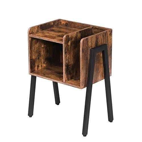 HOOBRO Nachttisch, stapelbarer Nachtschrank mit offenem Fach, Beistelltisch im Industrie-Design, Nachtkommode, für Kinder, Akzentmöbel mit Metallbeinen, Schlafzimmer, Wohnzimmer, Vintage EBF01BZ01