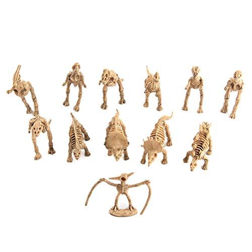 TOYMYTOY - Juego de 12 piezas de dinosaurio esqueleto de dinosaurio, diseño de cifras y juguetes para niños