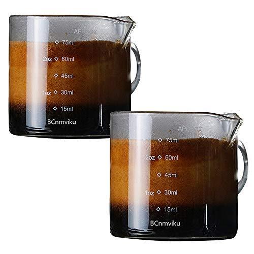 2 個セット抽出量を計るための計量75ml ハンドル付き グラス ショットグラス ショットグラス エスプレッソ 計量カップ 目盛り付き 厚み強化 耐熱ガラス製 お酒グラス ワイングラス エスプレッソマシン (2)