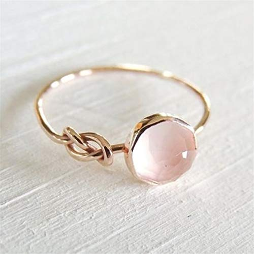 Botreelife Vintage Rose Gold Color Ring Pink Crystal Rhinestone Promise Engagement Band Rings For Women (Size 10)