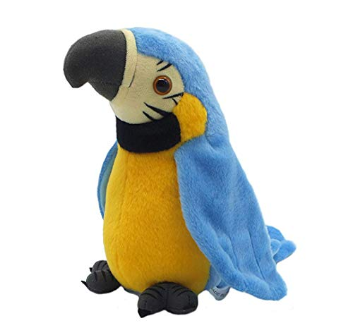 QDD Talking Parrot Repeats What You Say Mimicry Pet Toy Plush Buddy Parrot Children Gift (Blue)