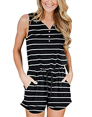 YIBOCK Women's Summer Sleeveless Button Down Striped Short Jumpsuit Cami Romper (A-Black, L)