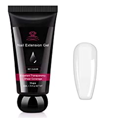 -PERFECT CLEAR . This 50ML tube of nail extension gel is the clearest , perfect to do encapsulated nails, inlay nails, dry flower nails, glitter nails, rhinestone nails; suitable for creating a nail extension in different shape like square nails, ova...