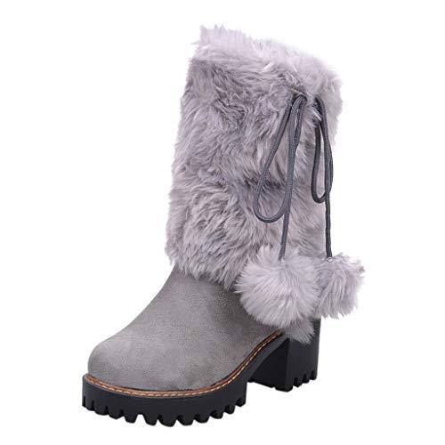 Xuthuly Winter Frauen Schöne Bowknot Plus Samt Outdoor Schneeschuhe Damen Freizeit Einfarbig Starke High Heel Stiefeletten