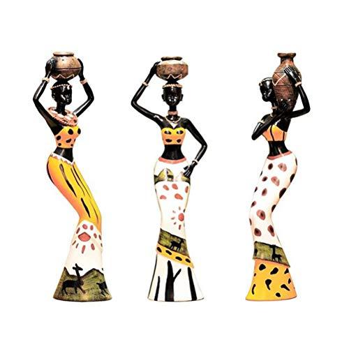 Tixiyu Figura africana, estatua de resina para mujer, estatua tribal de la señora estatua decoración, regalo creativo vintage artesanías muñecas adornos para decoración de escritorio