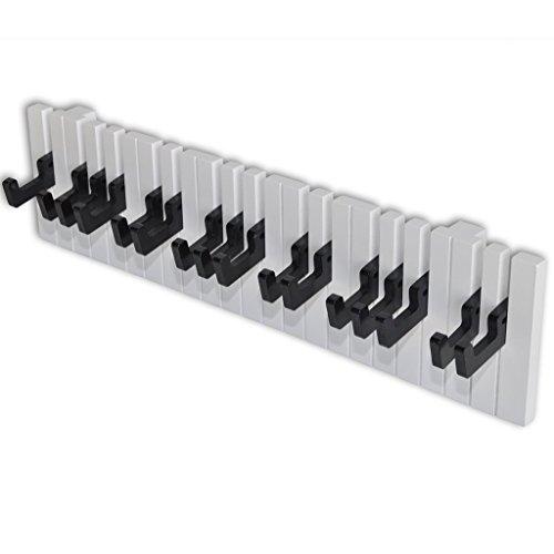 Festnight Perchero para Pared con 16 Ganchos - Forma de Teclado de Piano Color de Negro y Blanco