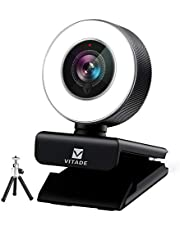 Streaming Webcam 1080P, Vitade 960A HD Web Camera USB Web Cam for Gaming Conferencing Video Chatting Mac Windows Desktop Computer Laptop Wide Angle Webcam with Ring Light & Microphone & Tripod