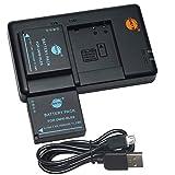 DSTE 2PCS DMW-BLE9 DMW-BLE9E(1500mAh/7.4V) Batería Cargador Compatible para Panasonic Lumix DMC-GF3,DMC-GF3GK,DMC-GF5,DMC-GF6,DMC-GX7,DMC-LX100 Cámara como DMW-BLE9PP DMW-BLG10