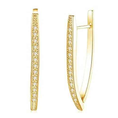 XAOQW Pendientes de Color Oro para Mujer decoración Boda Delicada diseño Cristal joyería Regalo Lujo 4 Colores-Color Dorado