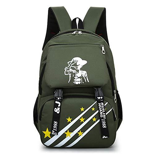 Zaino nuovo stile moda uomo zaino da viaggio campus scuola media studente borsa scuola elementare borsa scuola studente 44cm * 31cm * 12cm verde militare