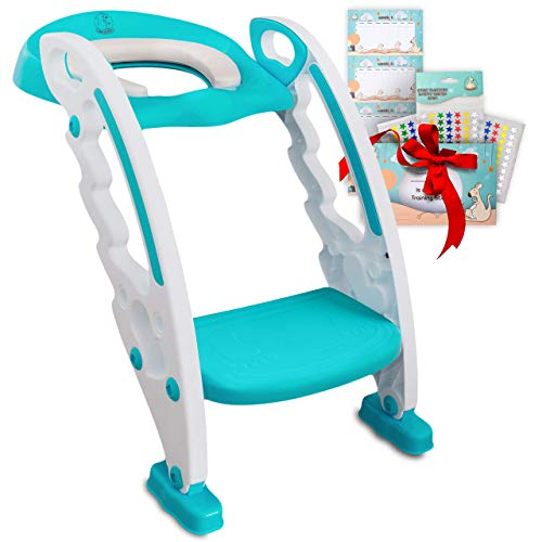 BABYSEATER Potty Training Seat with Potty Reward Chart - Step Stool Ladder Toilet Training Seat for Toddlers, Boys or Girls - Safe Non-Slip Handle, Anti-Cold, Padded Seat, Adjustable Steps, Foldable