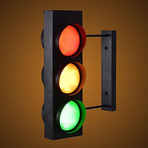 Semáforo Multicolor LED Lámpara de Pared, Traffic Light Apliques de Pared con Interruptor y Enchufe Señales de Tráfico, Retro Industrial Restaurante Dormitorio Bar Luces de Pared,Withoutremotecontrol