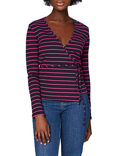 Marchio Amazon - find. T-shirt Scollo a V a Manica Lunga Donna, Blu (Navy And Pink Stripe), 44, Label: M