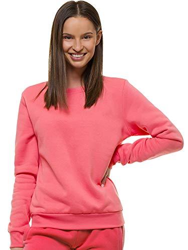 OZONEE Damen Sweatshirt Pullover Langarm Farbvarianten Langarmshirt Pulli ohne Kapuze Baumwolle Baumwollemischung Classic Basic Rundhals-Ausschnitt Sport JS/W01Z ROSA S