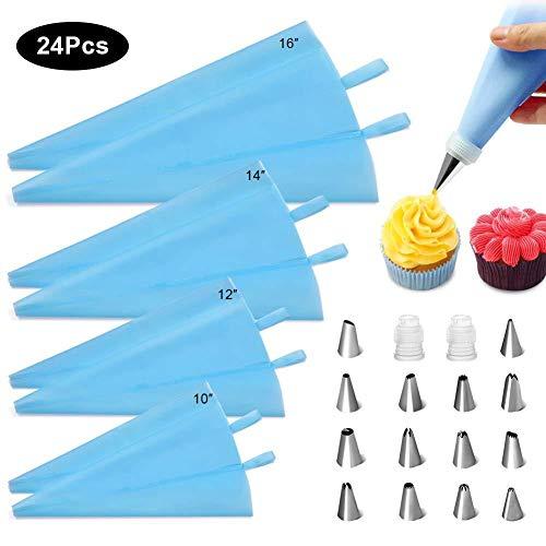 FOKULUNDA Russian Piping Tips Set 83 pezzi Torta Cupcake Decorazioni Supplies Kit Zuccheriera ugelli fiori forma sacchetto di pasta di zucchero e consigli accessori da forno 24pcs-blue