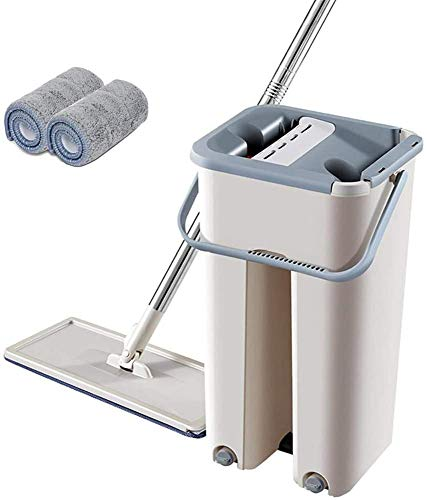 Flat mop and Bucket Set - Dual Wash & Dry Cleaning Bucket,Spinning mop and Bucket Set on Wheels,Mop and Buckets Sets Compact,Mop Bucket Set (2 Piezas de Tela)